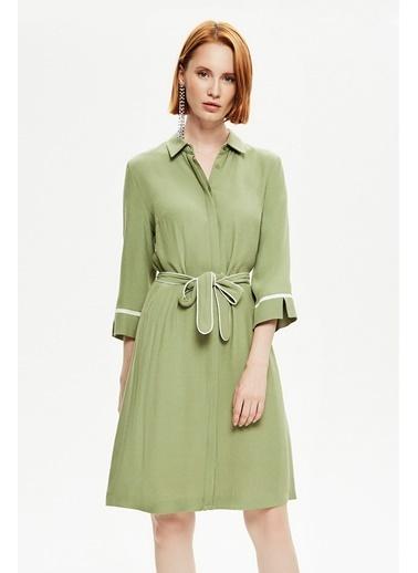 NaraMaxx Kuşaklı Gömlek Elbise Yeşil